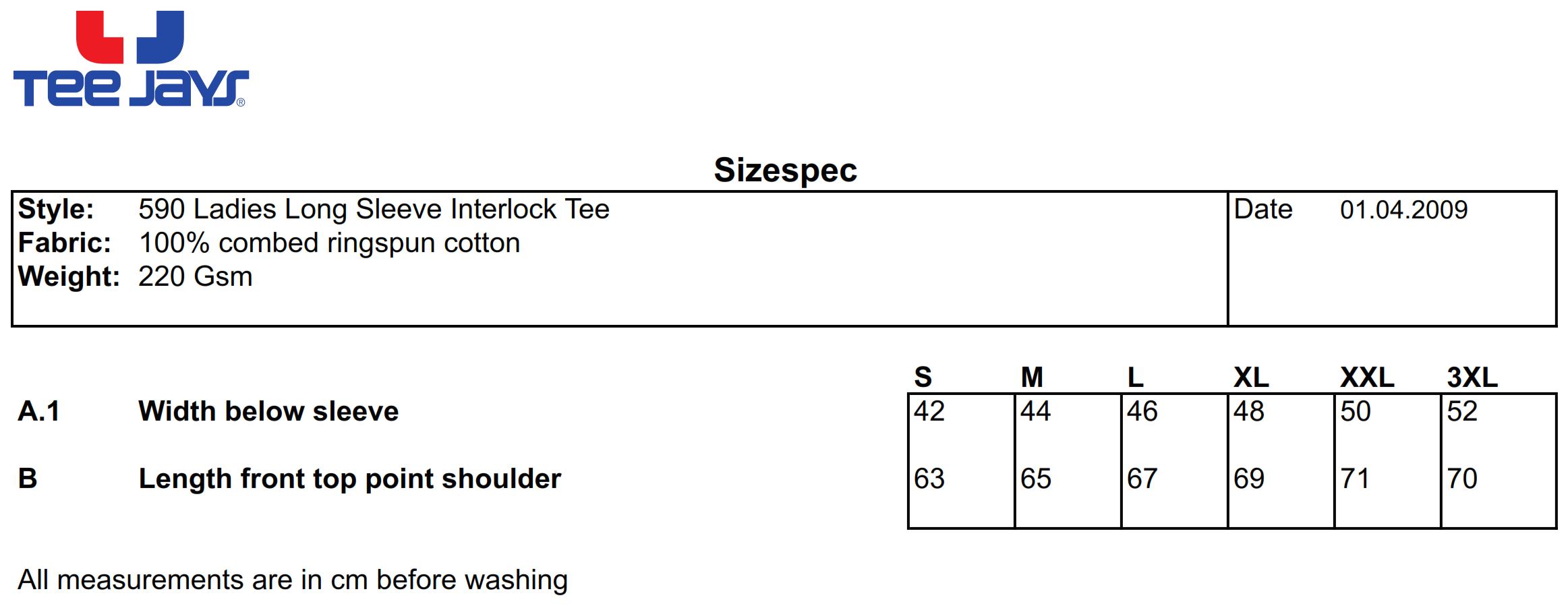 Tee Jays: Ladies LS Interlock T-Shirt 590
