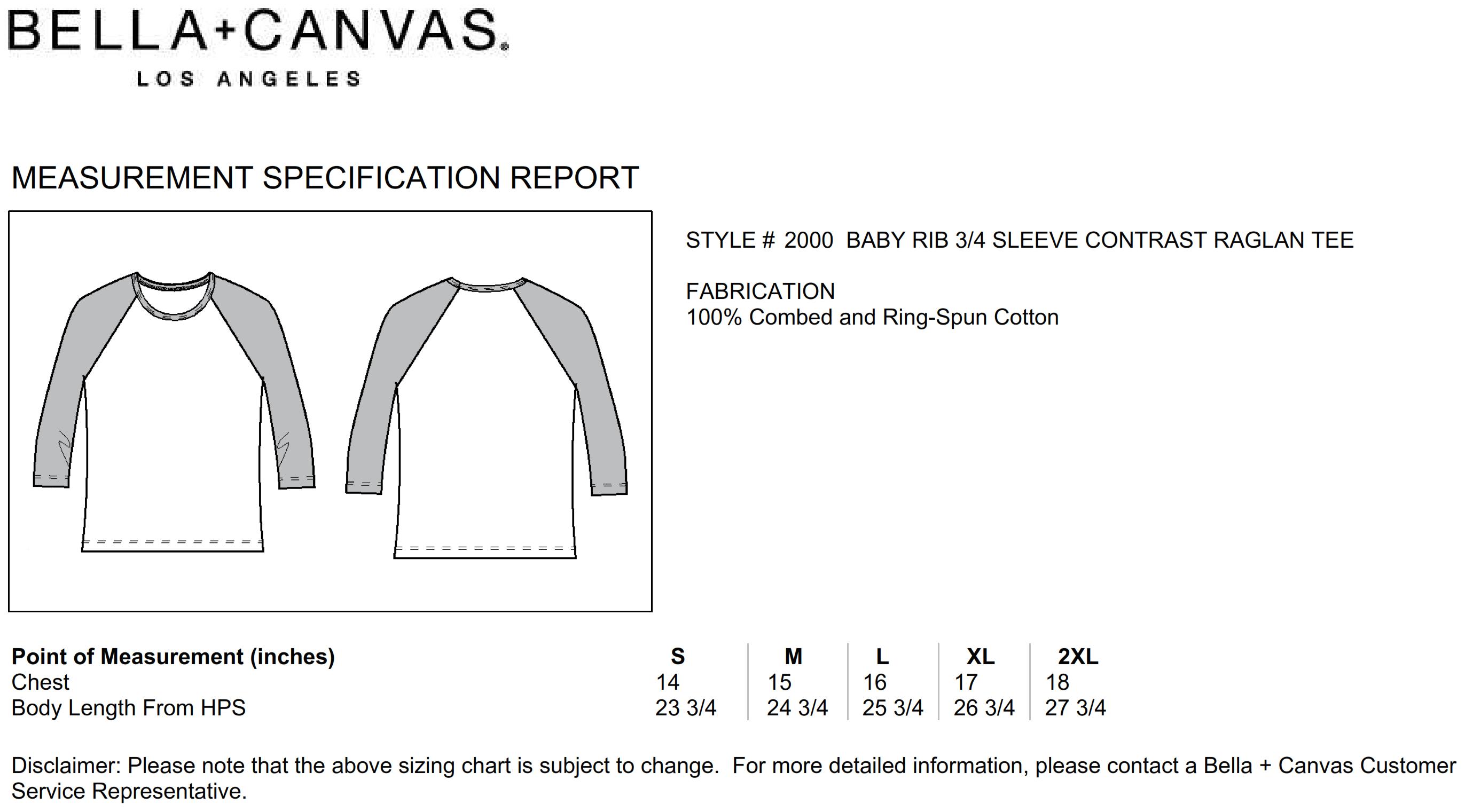 Bella+Canvas: 3/4 Sleeve Contrast Raglan T-Shirt 2000:00:00