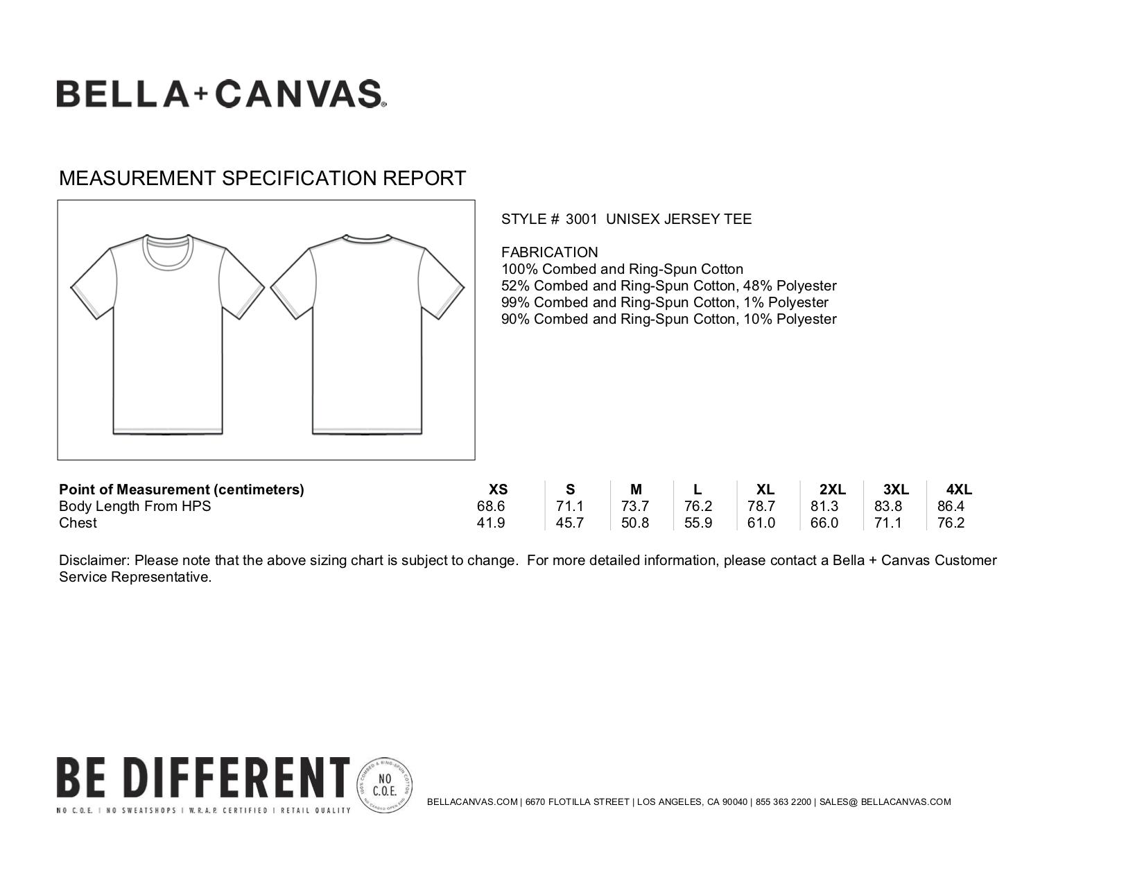 Bella+Canvas: Unisex Short Sleeve T-Shirt 3001