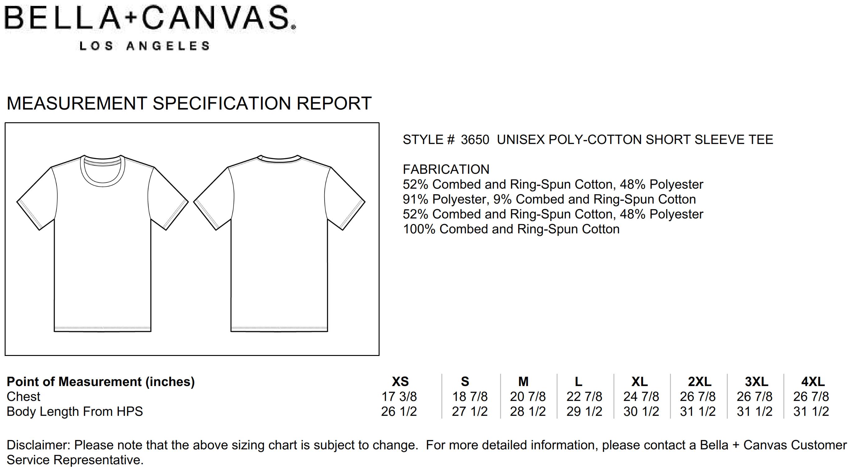 Bella+Canvas: Unisex Poly-Cotton T-Shirt 3650