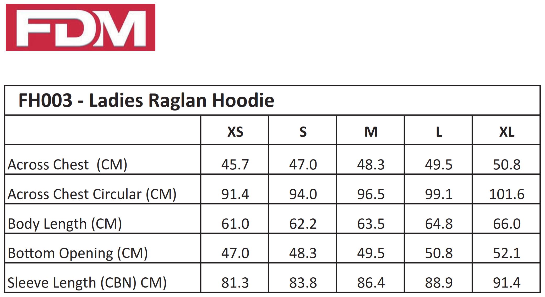 FDM: Ladies` Raglan Hoodie FH003