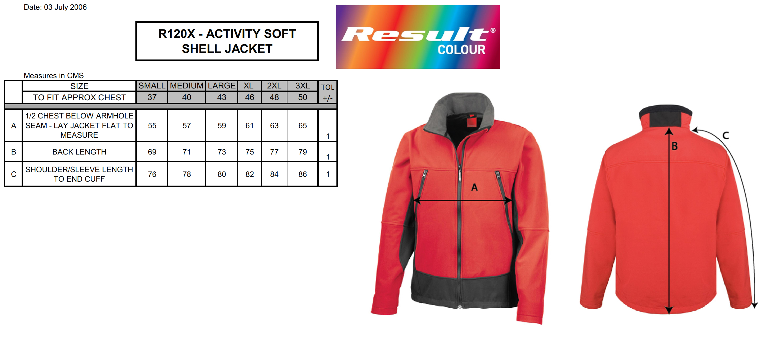 Result: Soft Shell Activity Jacket R120X