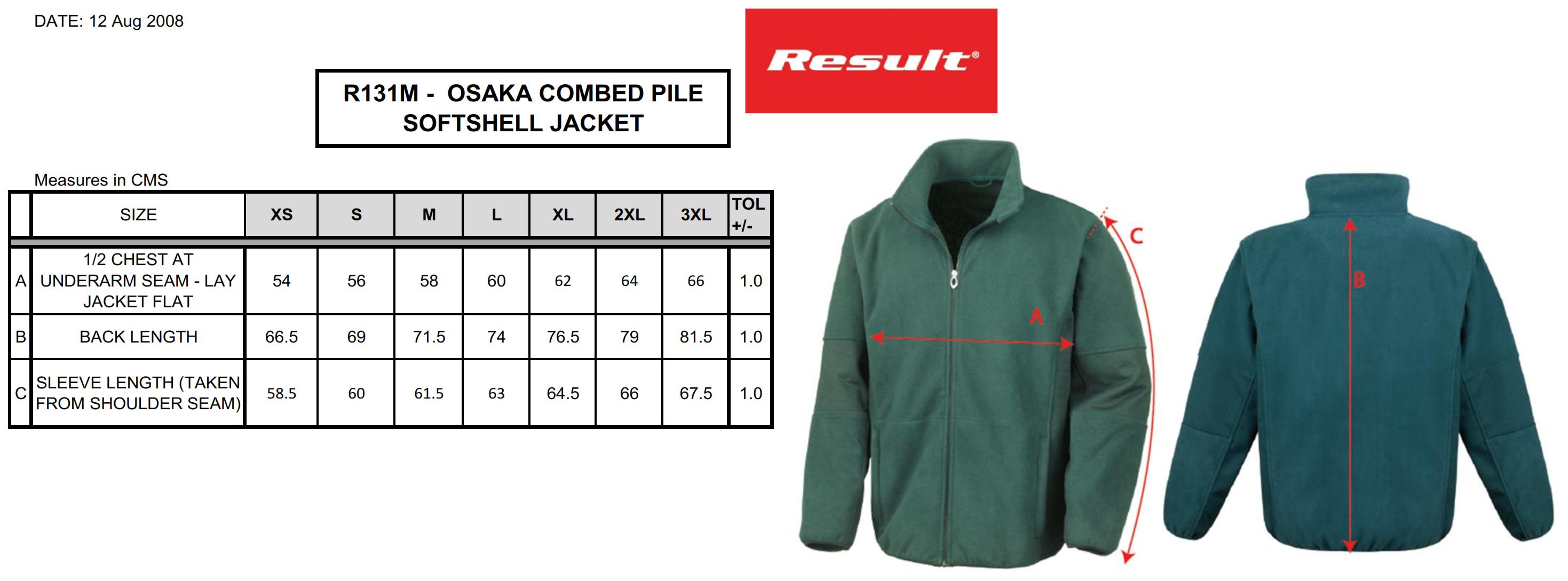 Result: Osaka Tech Fleece Soft Shell  R131M
