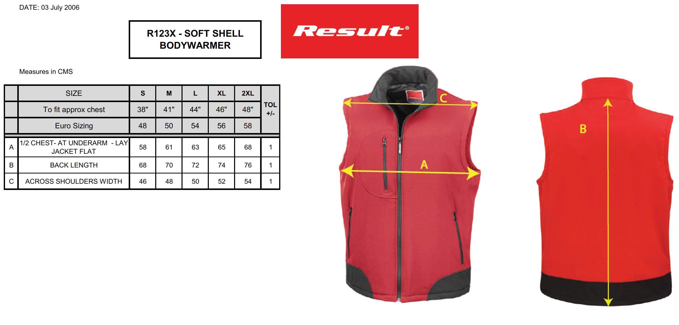 Result: Soft Shell Bodywarmer R123X