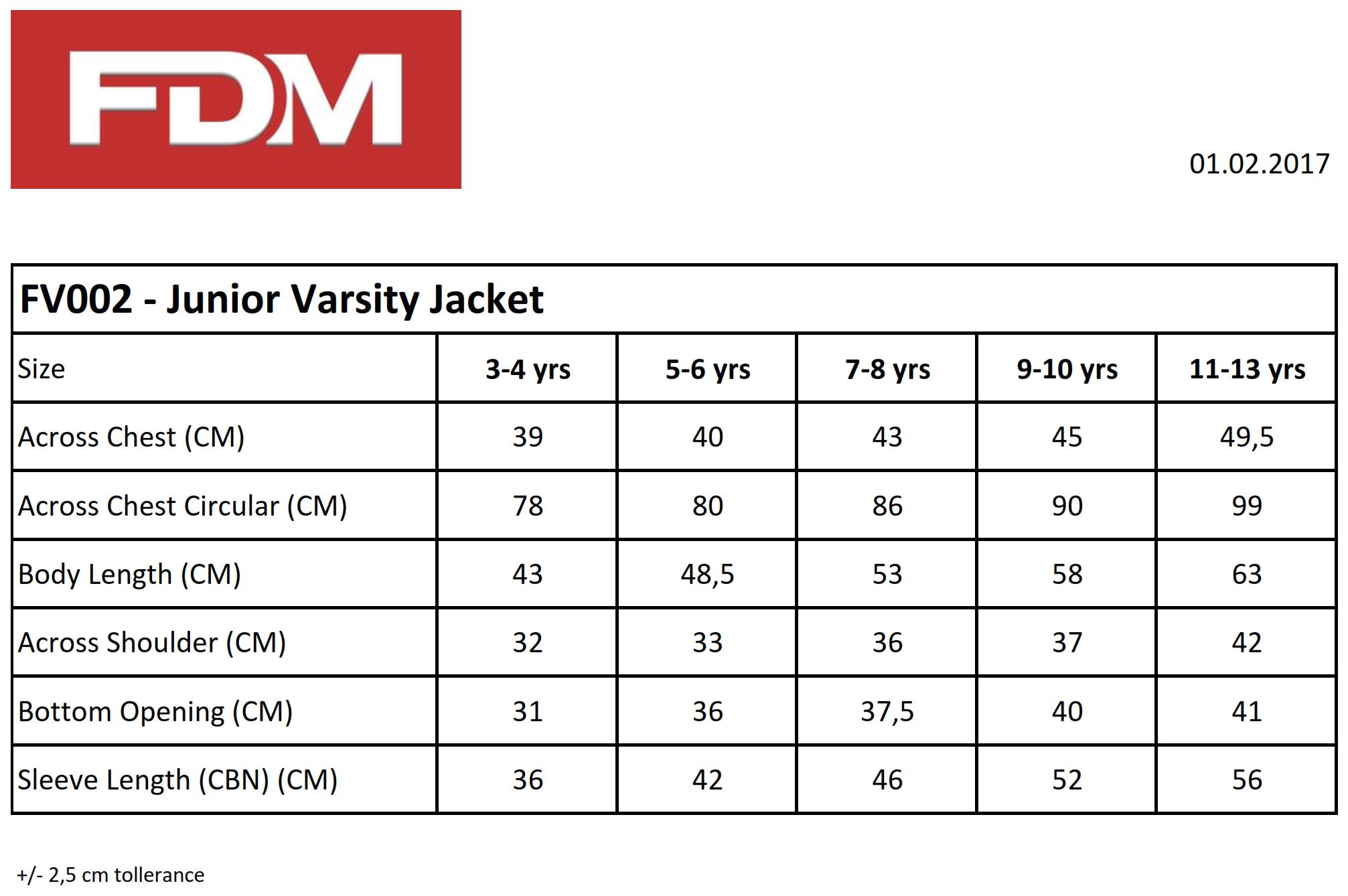 FDM: Kids` College Jacket FV002