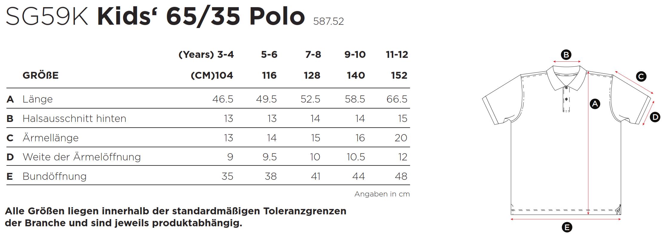SG: Kids` Poly Cotton Polo SG59K