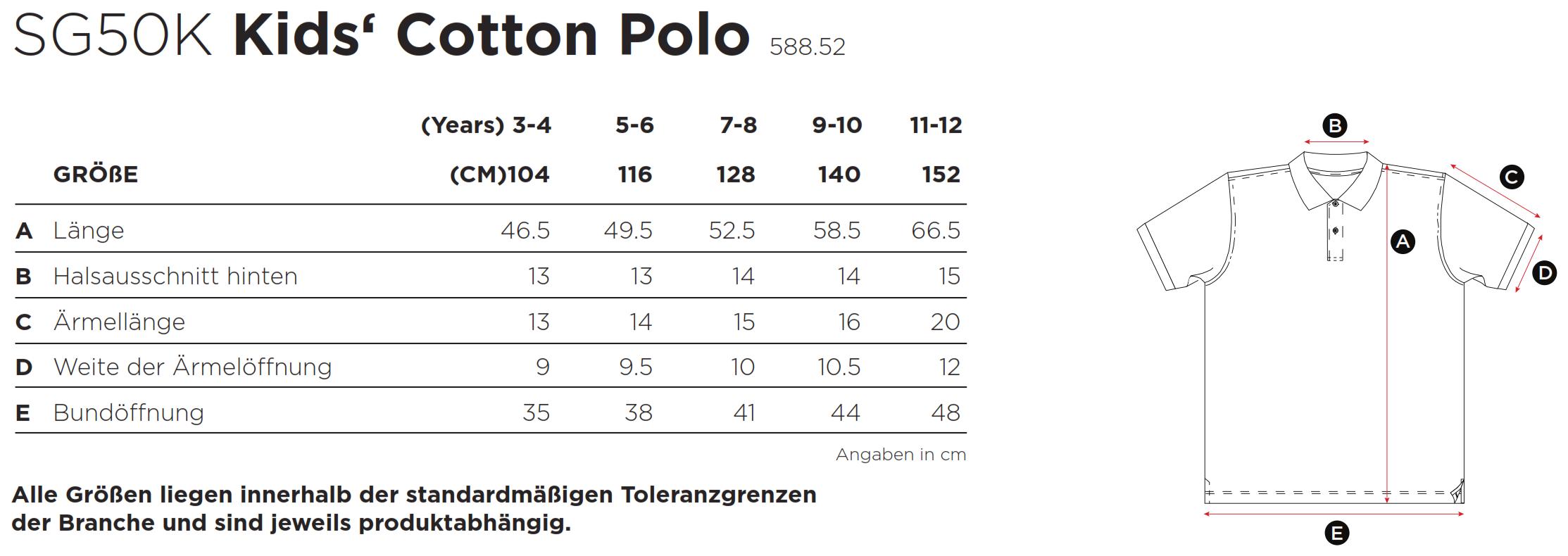 SG: Kids` Cotton Polo SG50K