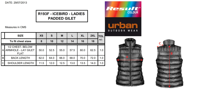 Result: Ladies` Ice Bird Padded Gilet R193F