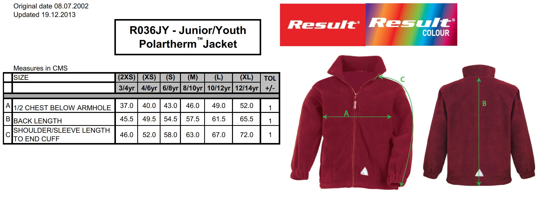 Result: Kids` Fleece Jacke R036J/Y