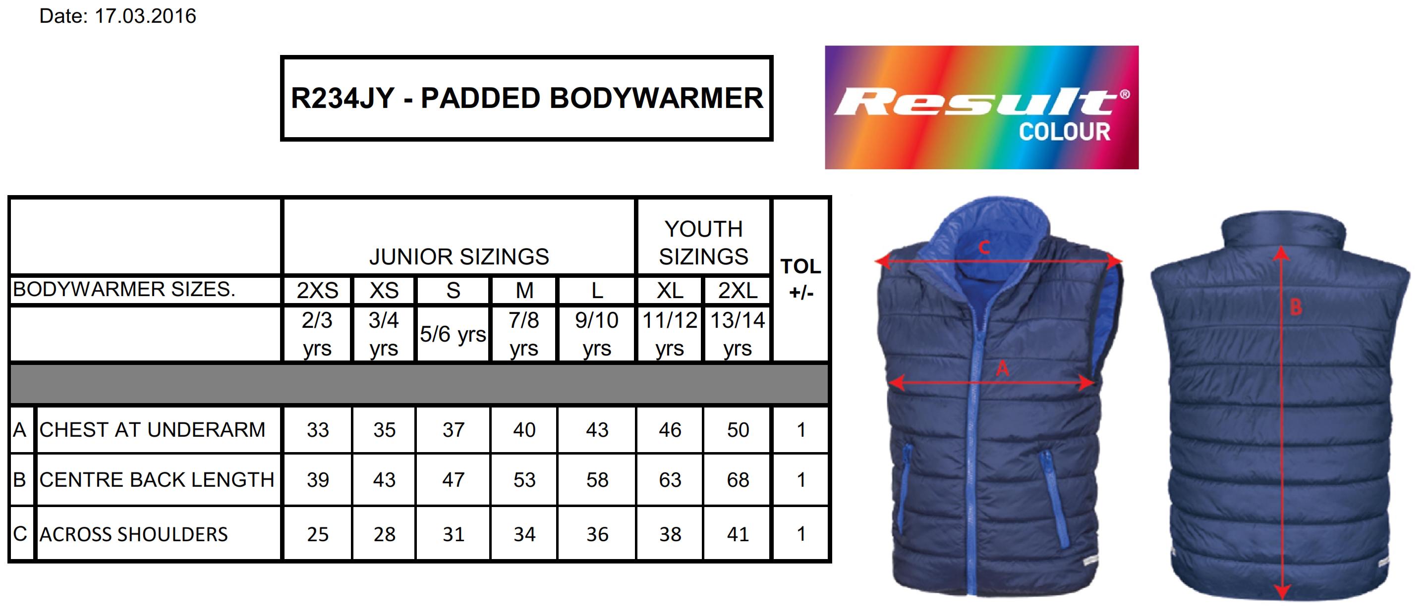 Result: Junior/Youth Padded Bodywarmer R234J/Y