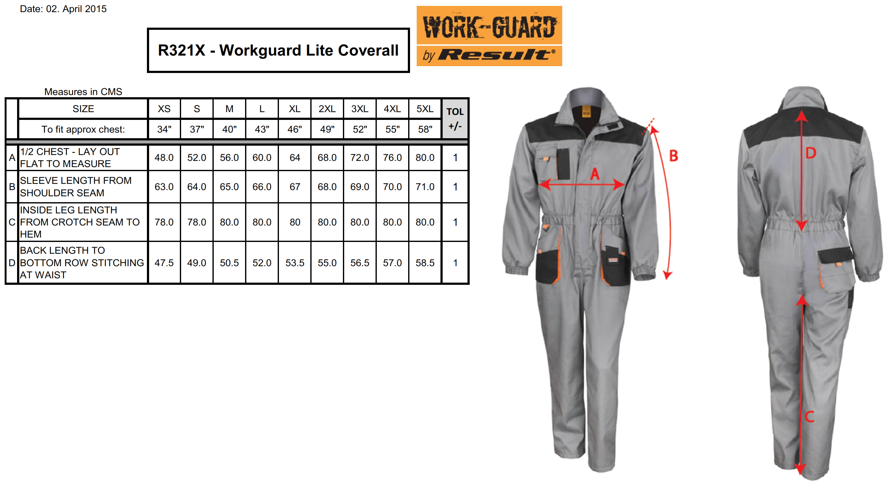 Result: LITE Coverall R321X