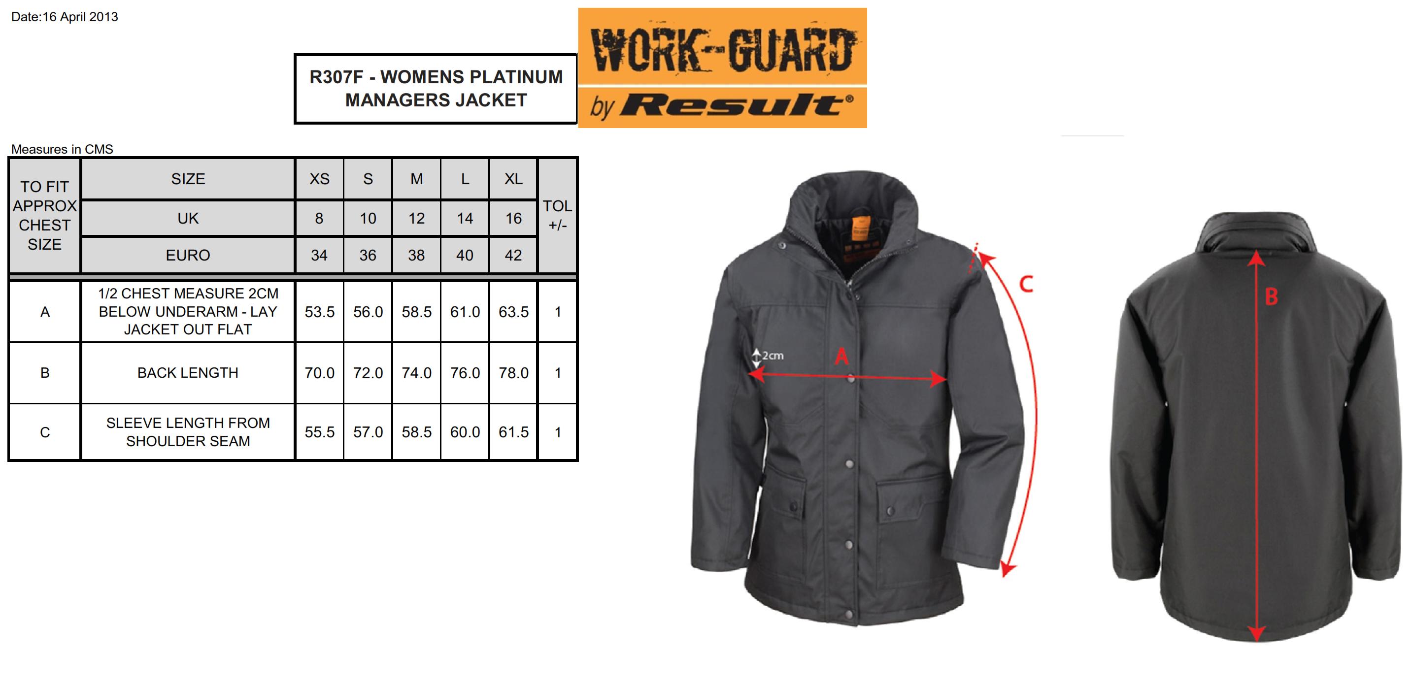 Result: Ladies` Platinum Managers Jacket R307F